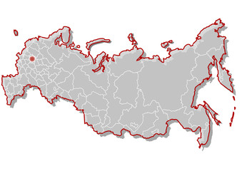 Vector map of russia gray with red border strokes