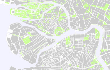 Vector map of the center of Saint Petersburg black and white