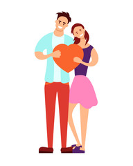 Young couple holding a red heart on a white background. Vector illustration