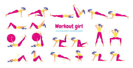 Woman in gym. Set of gym icons in flat style isolated on white b