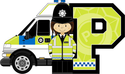 P is for Police Alphabet Learning illustration