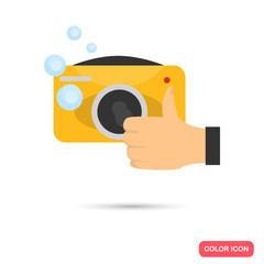 Waterproof camera color flat cion for web and mobile design