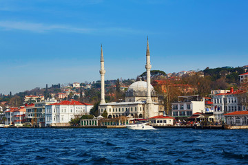 Scenic view of Istanbul with a mosque across the Golden Horn bay