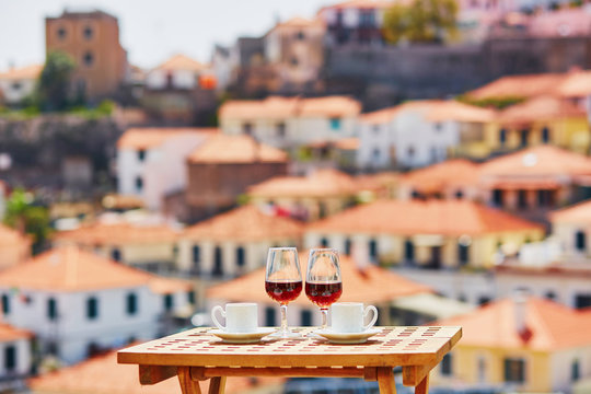 Madeira wine and coffee with view to Funchal, Madeira, Portugal