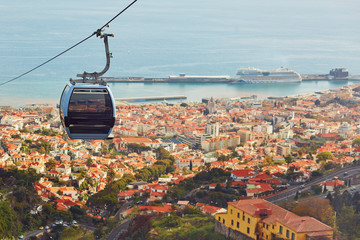 Cable ropeway cabin over Funchal, Madeira island, Portugal Fototapete