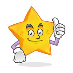 Smile thumb up star mascot, star character, star cartoon vector