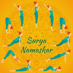 Surya Namaskar yoga complex sun salutation
