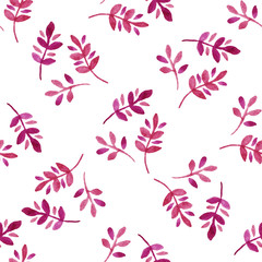 Watercolor seamless pattern with leaves.
