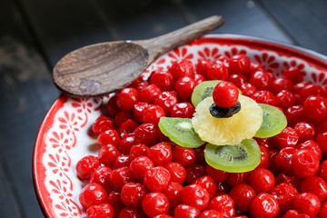 Cherry preserved in syrup
