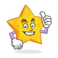 Thumb up star mascot, star character, star cartoon vector