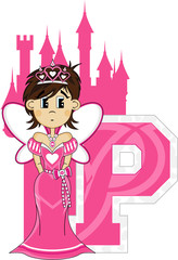 P is for Princess Alphabet Learning Illustration