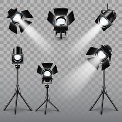 Realistic spotlight set vector
