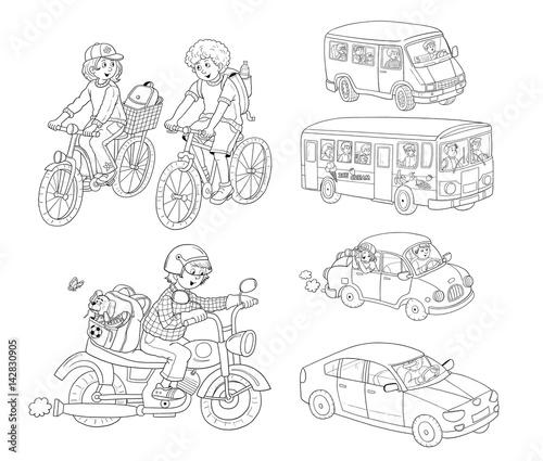 Small Set Of Different Vehicles Bus Minibus Car Bike