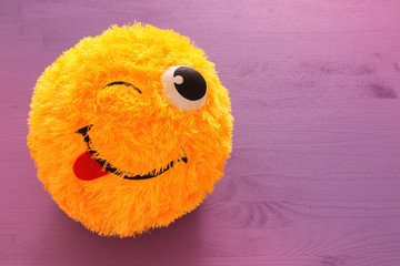 image of cute smiling emoticon, emoji concept