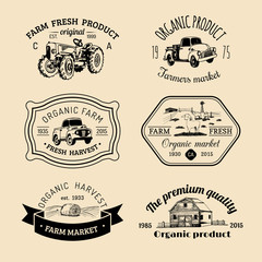 Vector retro set of farm fresh logotypes. Vintage labels with hand sketched agricultural equipment illustrations.