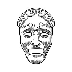 Tragedy theater mask . Vector engraving vintage black illustration