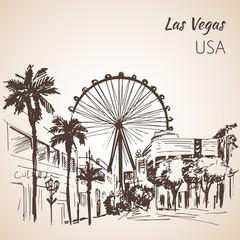Las Vegas cityscape sketch wirh ferris wheel.