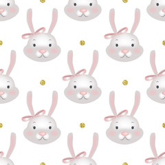 Vector seamless pattern with cartoon cute bunny.