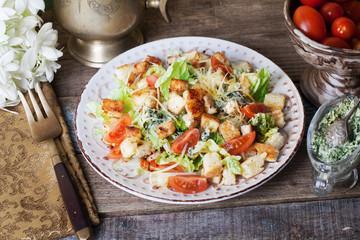Vegan caesar salad, vegan caesar salad, vegetarian salad, vegan salad, feta cheese, crackers still life