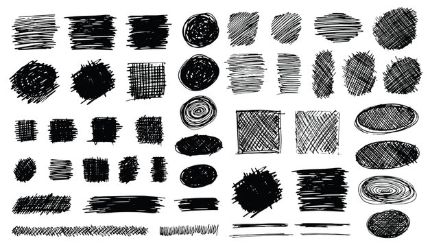 Hand Drawn Shaded Scribble Shapes