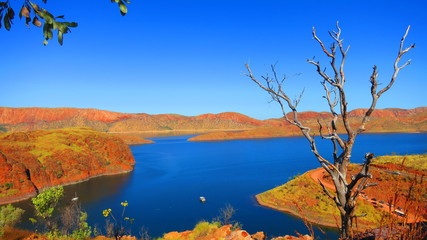 High up View of beautiful Lake Argyle nearby Kununurra, West Australia on a warm sunny day with blue skies