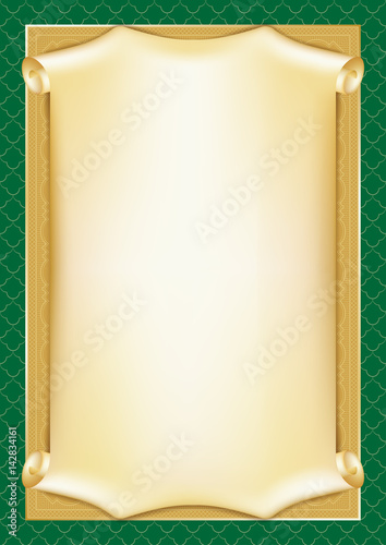Template For Diploma Certificate Card With Scroll And Decorative