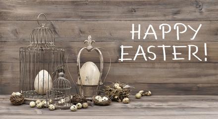 Easter decoration eggs nest birdcage vintage text