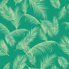 Vector beach seamless pattern with tropical palm tree leaves. Background with tree palm, illustration of exotic jungle tree.