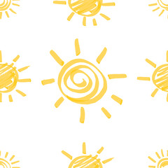 Yellow Marker Sun Seamless Pattern