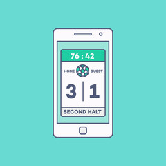Smartphone Scoreboard Application Line Minimal Style Vector Illustration