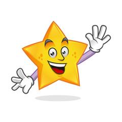 Greeting star mascot, star character, star cartoon vector