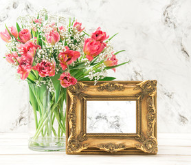 Pink tulip flowers golden picture frame