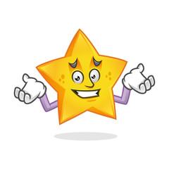 Confused star mascot, error star character, star cartoon vector
