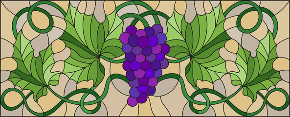 The illustration in stained glass style painting with a bunch of red grapes and leaves on brown background,horizontal orientation