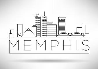 Minimal Memphis Linear City Skyline with Typographic Design