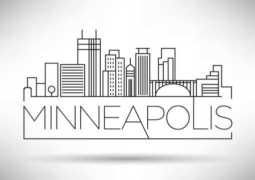 Minimal Minneapolis Linear City Skyline with Typographic Design