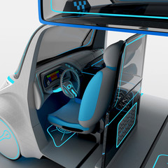 Concept design of the city universal electric vehicle. 3D illustration.