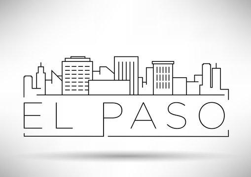 Minimal El Paso Linear City Skyline with Typographic Design