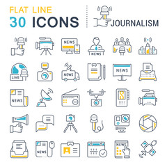 Set Vector Flat Line Icons Journalism