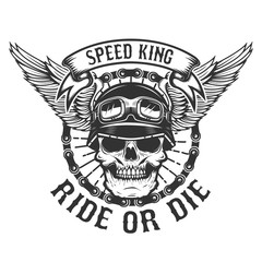 Racer skull with wings. Biker power. Ride or die. Design element for poster, t-shirt, emblem. Vector illustration