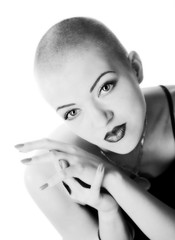 Bald-headed girl, black and white