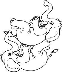 2 freunde team zirkus kunststück spaß trick spielen klein elefant lustig comic cartoon spaß lachen