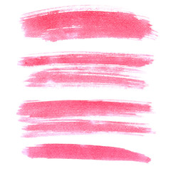 Set of pink brush strokes