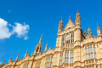 Architectural details of Palace of Westminster in London