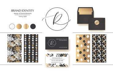 Sophisticated brand identity. Letter R line logo. Business card template included.