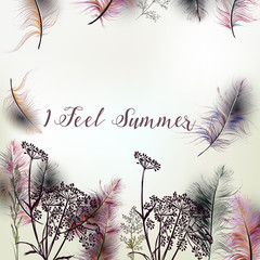 Elegant illustration with summer field flowers and feathers