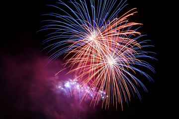 Fireworks in night sky. Multi-colored fireworks display on black background.