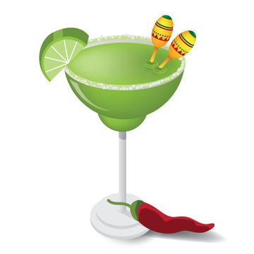 Margarita with lemon wedge, tiny maracas, and chili pepper. EPS 10 vector.