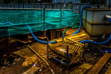 Water tank and distribution at construction site photo taken in Jakarta Indonesia