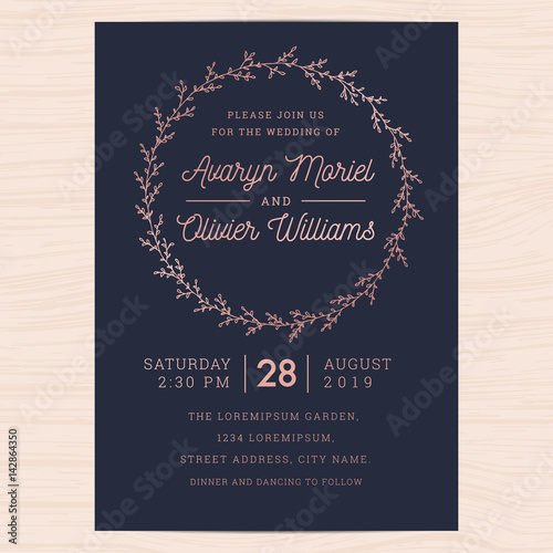 Modern Navy Blue And Rose Gold Colors Wedding Invitation Card